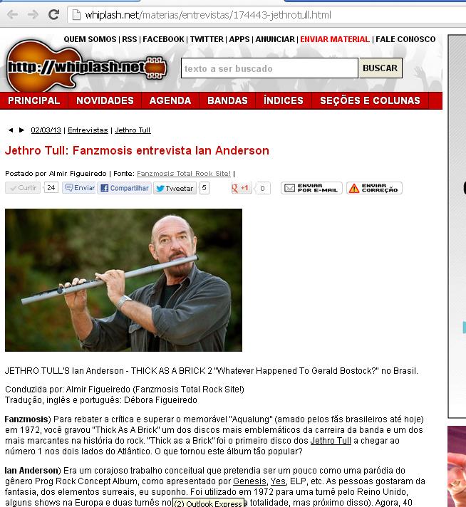 Entrevista publicada no portal whiplash.net
